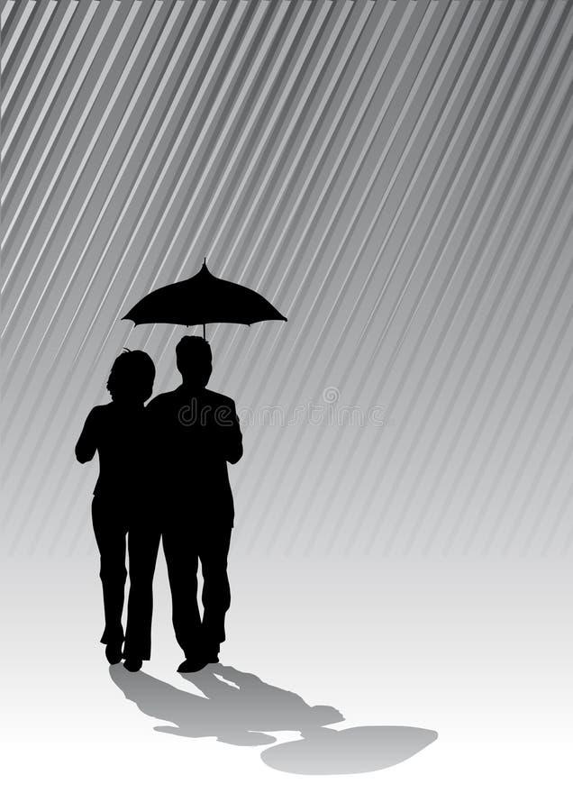 Paare unter Regenschirm lizenzfreie abbildung