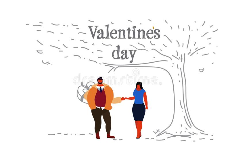 Paare in Valentinsgrußtageskonzeptfreundes der Liebe versteckender Überraschungsgeschenkbox des glücklichen hinter dem hinteren M stock abbildung