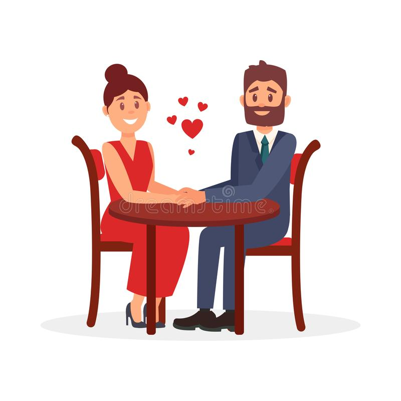 Paare von den Liebhabern, die bei Tisch im Restaurant und im Händchenhalten sitzen Romantisches Datum Flaches Vektordesign vektor abbildung