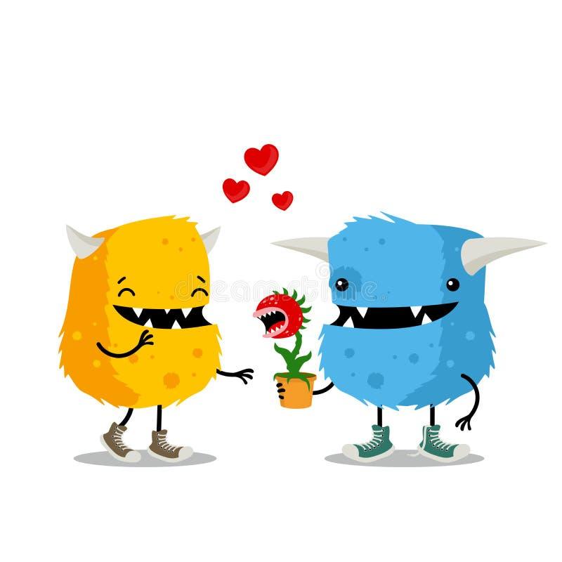 Paare von den Monstern, die Valentinsgruß ` s Tag mit Fleisch fressender Anlage als Geschenk feiern Nette Karikaturgrußkarte stock abbildung