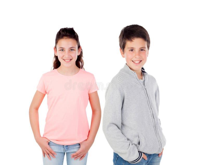 Paare von Kindern stockbilder