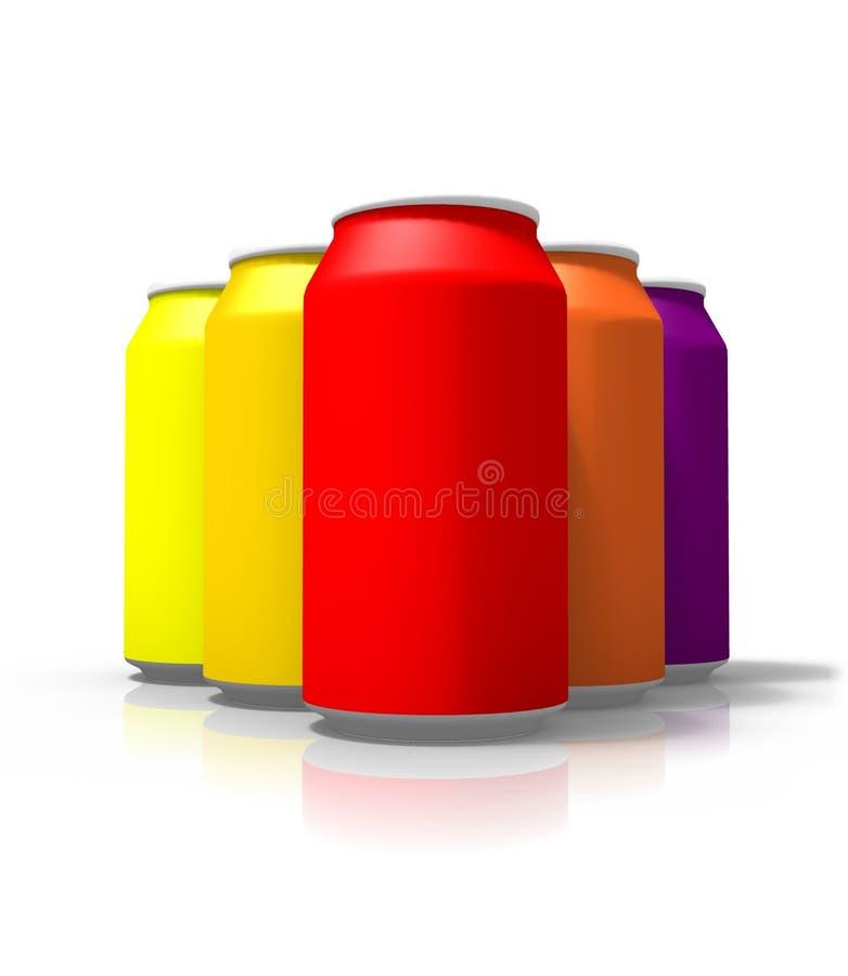 Paare von leeren Getränkdosen, lokalisiert auf weißem Hintergrund stock abbildung