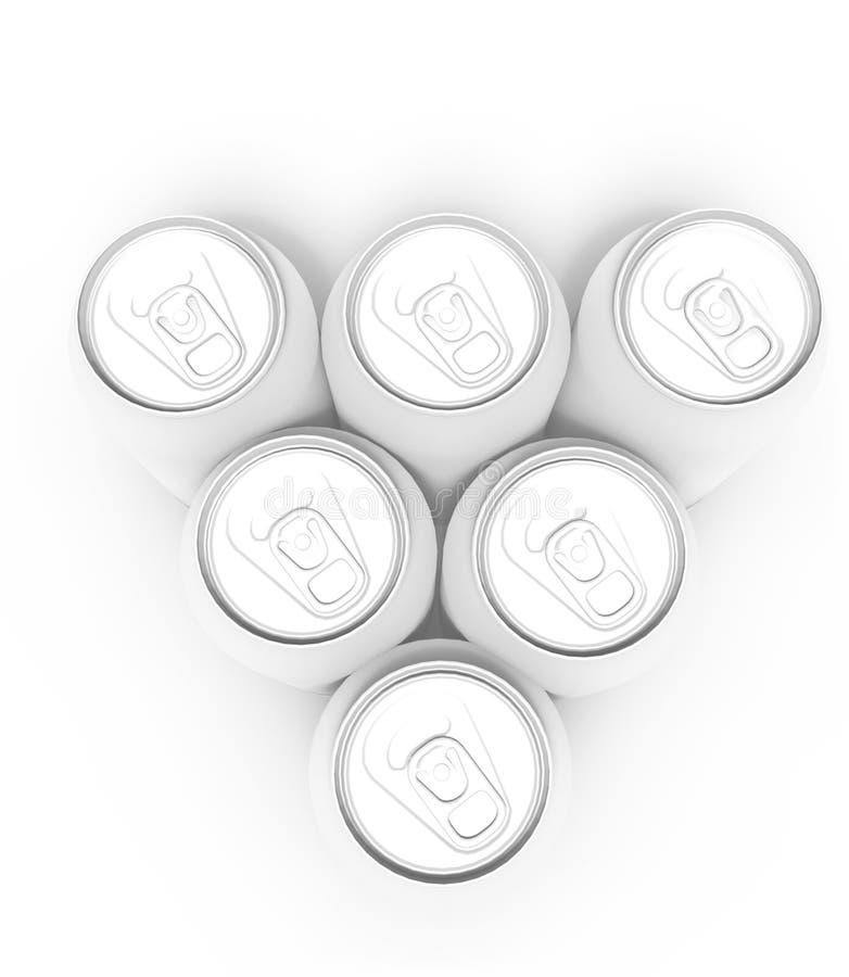 Paare von leeren Getränkdosen, lokalisiert auf weißem Hintergrund lizenzfreie abbildung