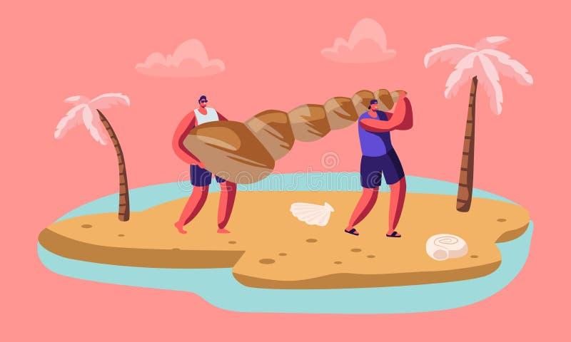Paare von männlichen touristischen Charakteren Carry Huge Seashell auf Sandy Tropical Beach Leute, die auf den Sommer-Ferien, tro lizenzfreie abbildung