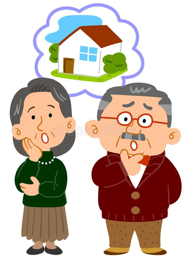 Paare von mittlerem Alter, Beratung, voll vom Problem lizenzfreie abbildung