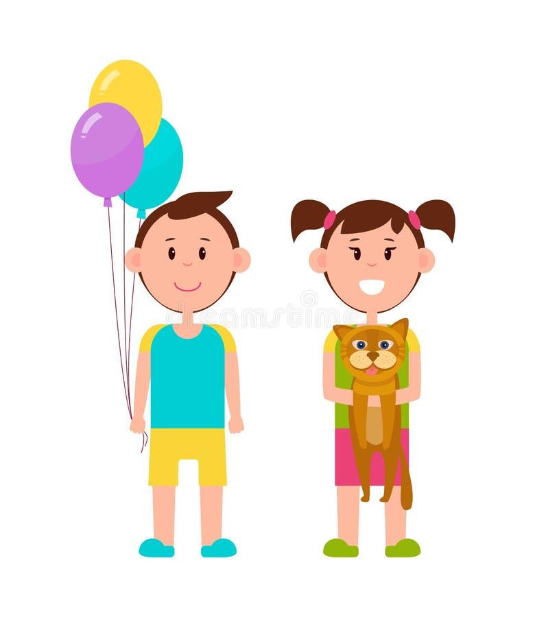 Paare von netten Kindern, Farbvektor-Illustration stock abbildung