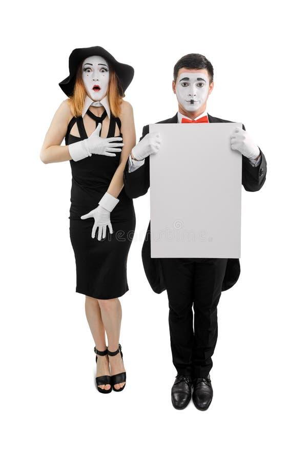 Paare von Pantomimen auf Weiß lizenzfreie stockbilder