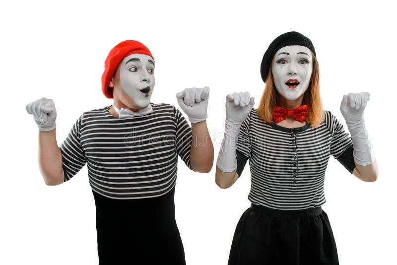 Paare von Pantomimen auf Weiß lizenzfreies stockfoto