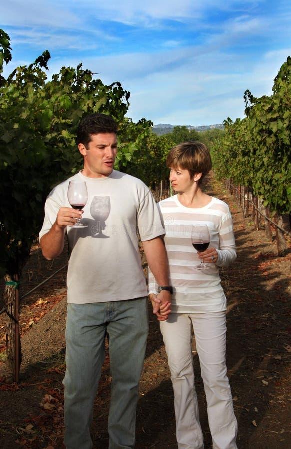 Paare am Weinberg lizenzfreies stockfoto