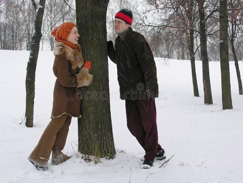 Paare. Winter. lizenzfreie stockfotografie