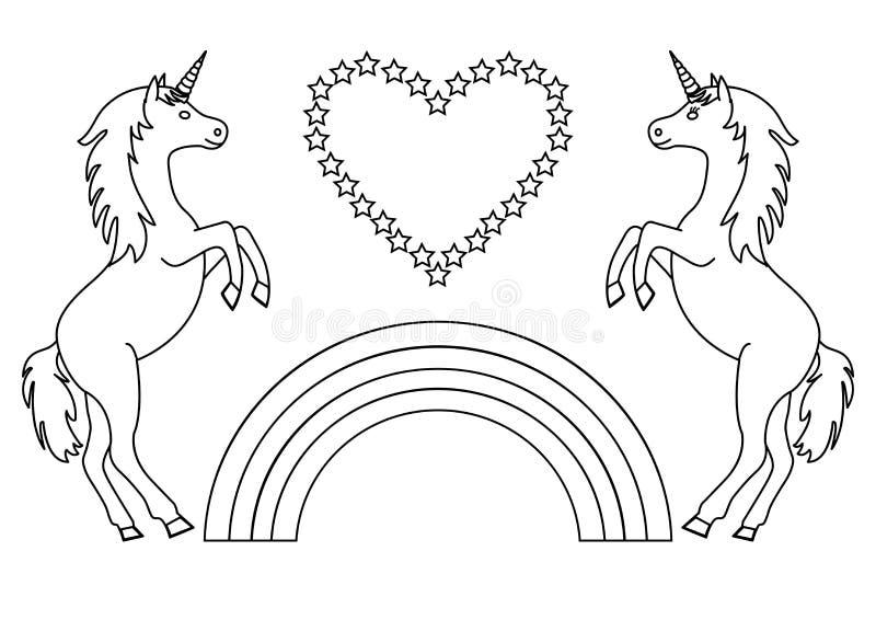 Paareenhoorns met regenboog en hart met sterren Kleurende pagina voor kinderen Vector stock illustratie