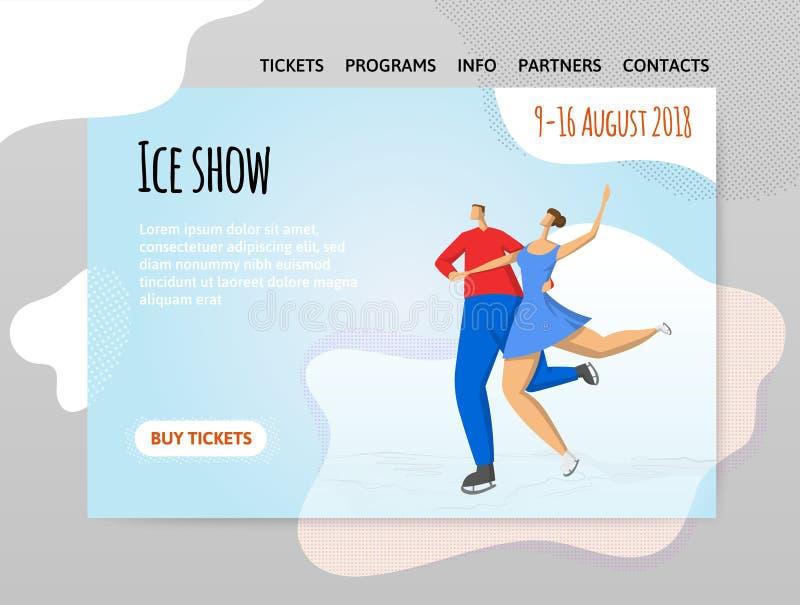 Paareiskunstlauf, Eistanzen Mann und Frau Vector illutration in der abstrakten flachen Art, Designschablone des Sports lizenzfreie abbildung