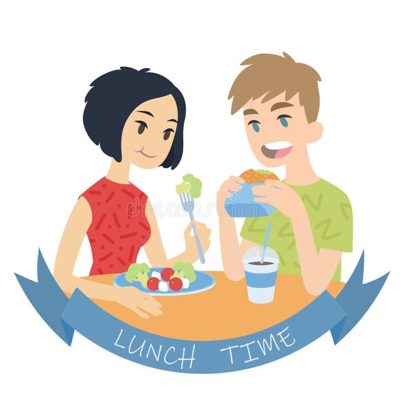 Paaressen Vektorillustration von multikulturellen Paaren in der flachen Karikaturart auf wei?em Hintergrund Europäisches Jungenbe lizenzfreie abbildung