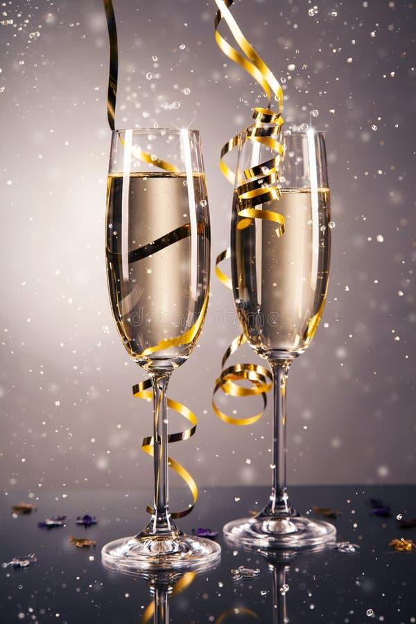 Paarglas champagne Het thema van de viering stock foto