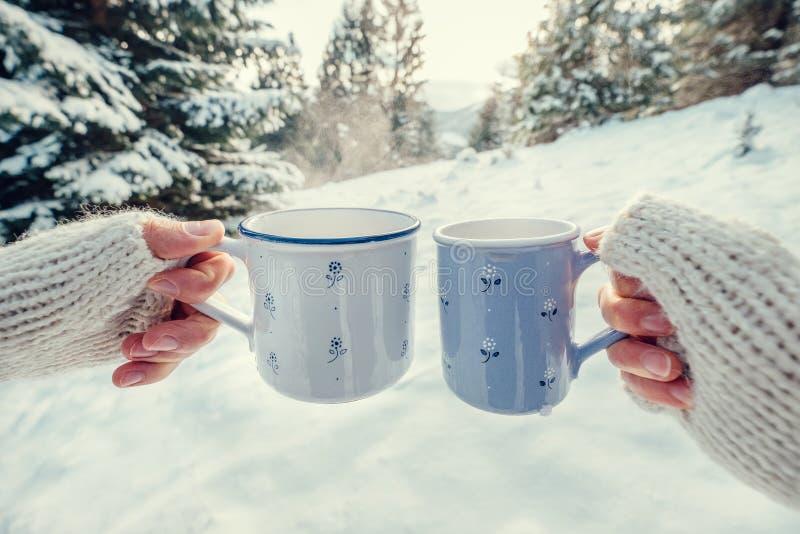 Paarhände in den Handschuhen nehmen Becher mit heißem Tee in den Wintervorderteilen stockfotos