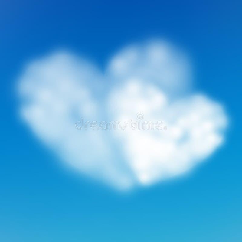 Paarhart gevormde wolk in de blauwe hemel De Dag van Valentine s Eps 10 vector illustratie