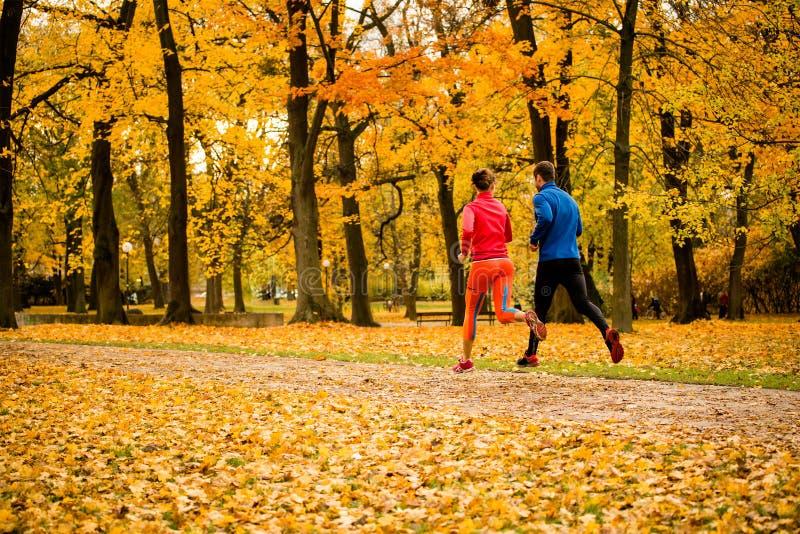 Paarjogging in de herfstaard stock foto's