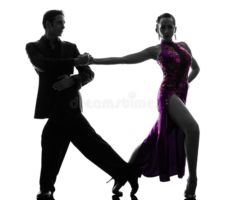 Paarman de dansers die van de vrouwenbalzaal silhouet tangoing royalty-vrije stock foto