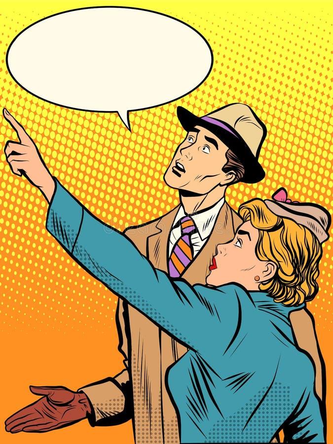 Paarman en vrouw die omhoog kijken stock illustratie