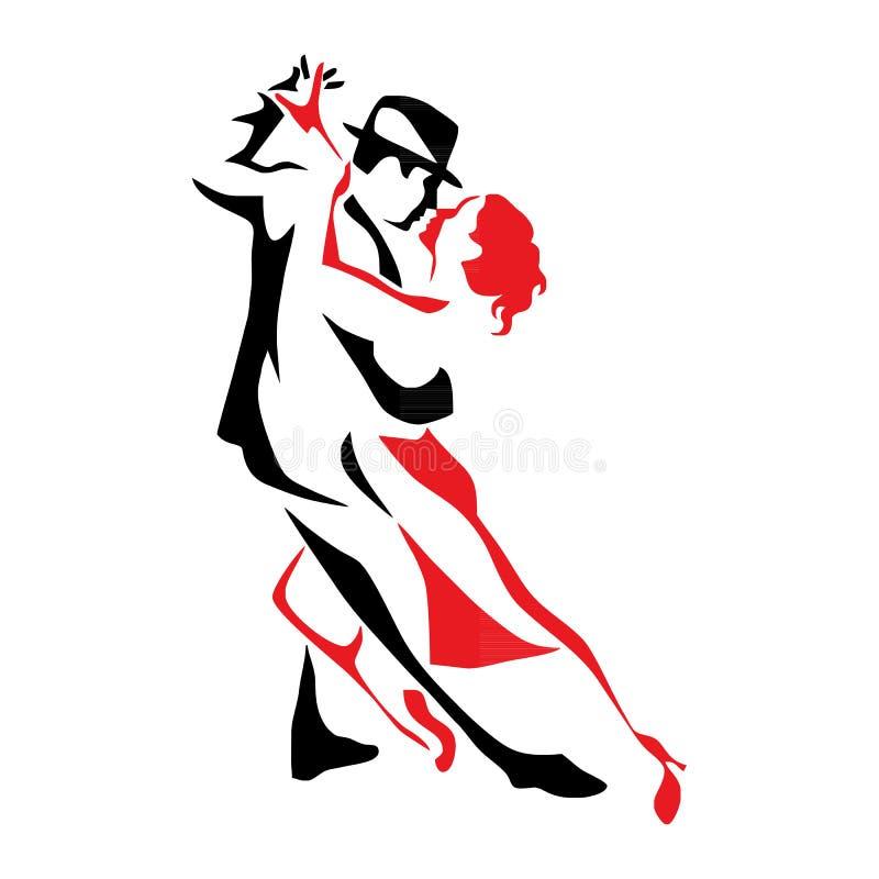 Paarmann- und -frauenvektorillustration des Tangos tanzende, Logo, Ikone lizenzfreie abbildung