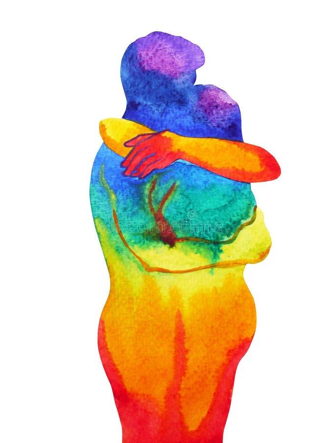 Paarminnaar die in regenboogheelal abstracte vrije mening koesteren stock illustratie