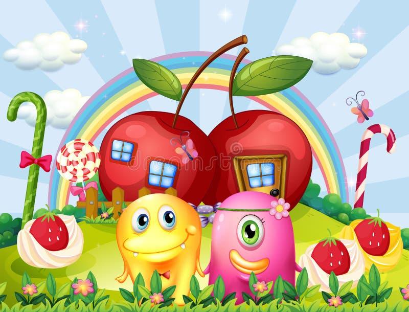 Paarmonsters bij de heuveltop met een regenboog en appelhuizen stock illustratie