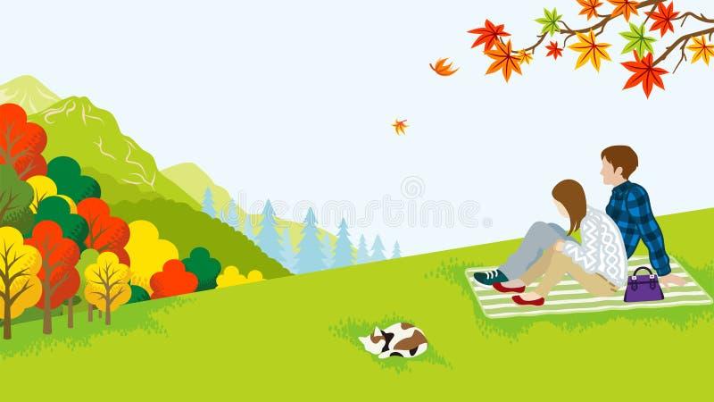 Paarpicknick in de de Herfstaard stock illustratie