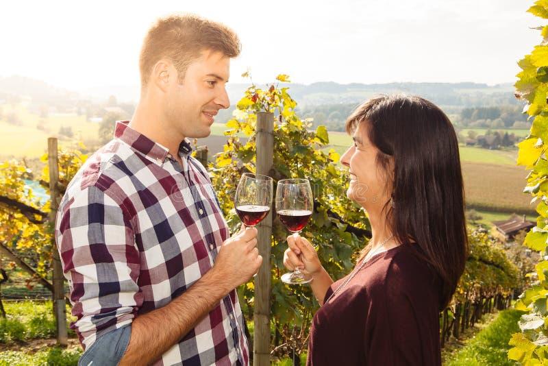 Paarprobierenwein in einem Weinberg lizenzfreies stockbild