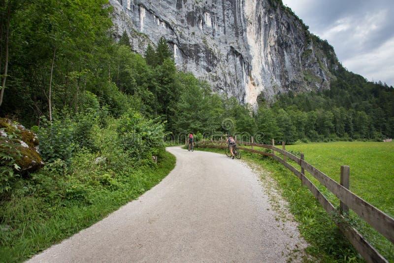 Paarreitfahrräder in den Alpen lizenzfreie stockbilder