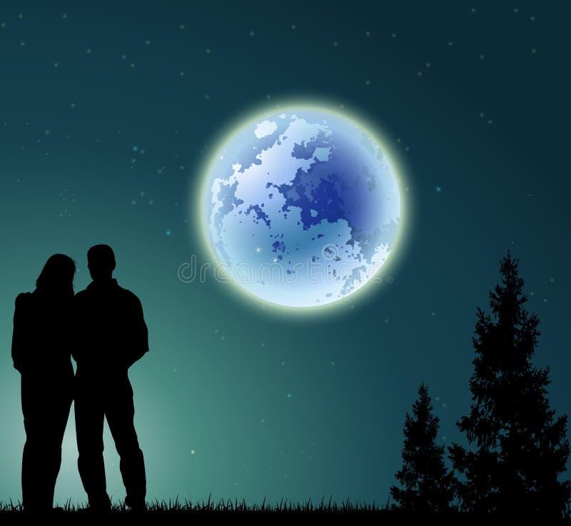 Paarsilhouet met volle maanachtergrond en pijnboomboom vector illustratie