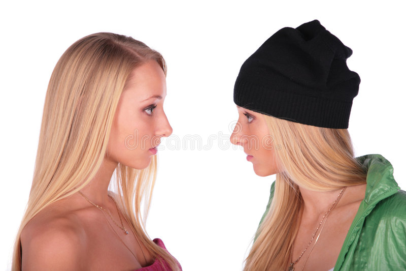 Paart Mädchengesichter lizenzfreies stockbild