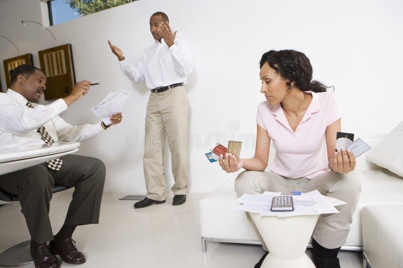 Paarvergadering met Accountant stock afbeeldingen