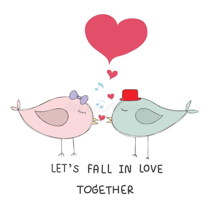 Paarvogelkuß mit Musik merkt rote Herzpastellfarbewi lizenzfreie abbildung