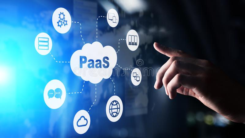 PaaS - piattaforma come un servizio, una tecnologia di Internet e concetto di sviluppo fotografia stock