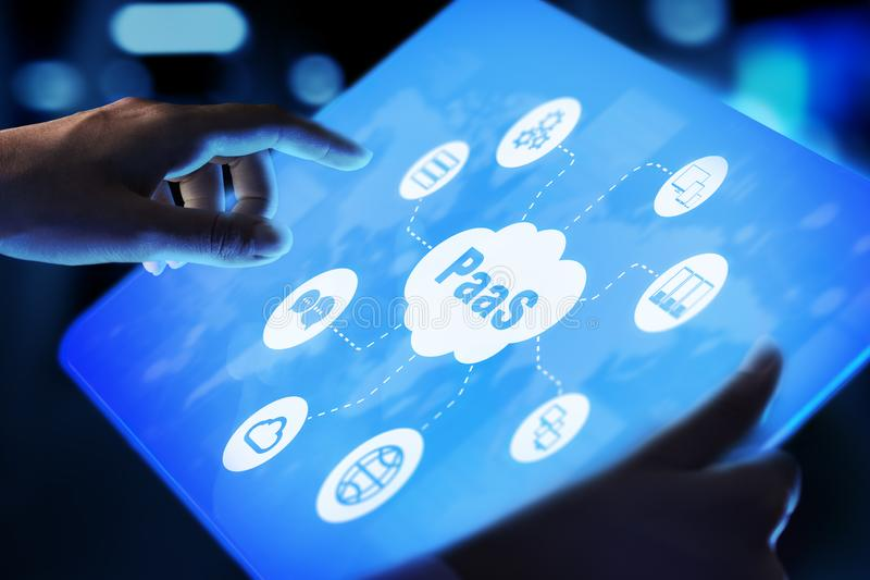 PaaS - plataforma como un servicio, una tecnolog?a de Internet y concepto del desarrollo imágenes de archivo libres de regalías