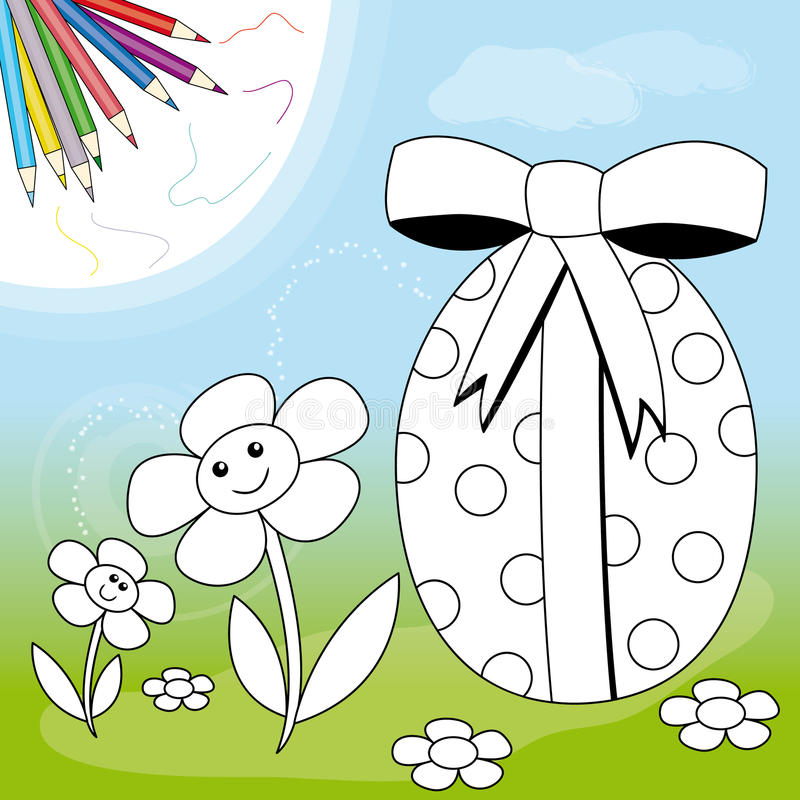 Paasei en bloemen royalty-vrije illustratie