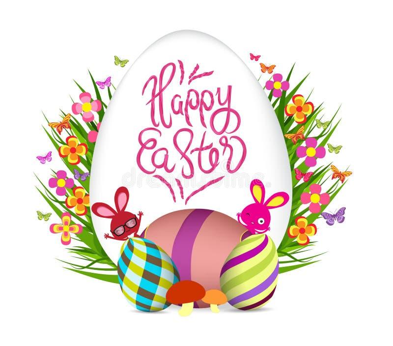 Paasei en konijntjesaffiche De bloemen van de lente royalty-vrije illustratie