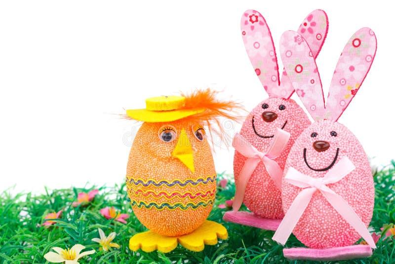 Paasei en konijntjesdecoratie royalty-vrije stock fotografie