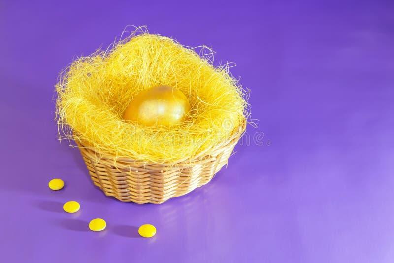 Paasei in gele gouden kleur in een nest in een rieten mand op een lilac achtergrond wordt geverft die stock afbeelding
