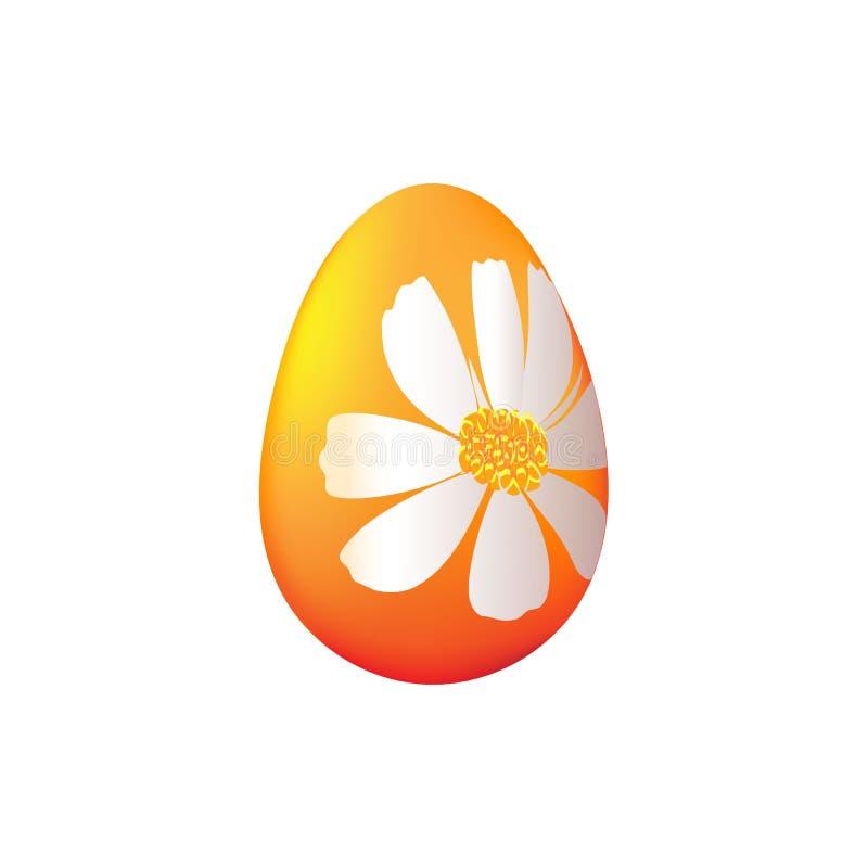 Paasei met een bloem wordt verfraaid die stock illustratie