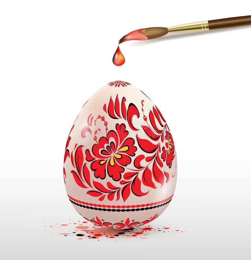 Paasei met rood bloemenornament stock illustratie