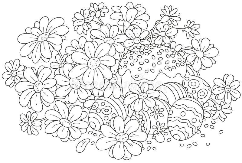 Paaseieren en een cake met bloemen vector illustratie