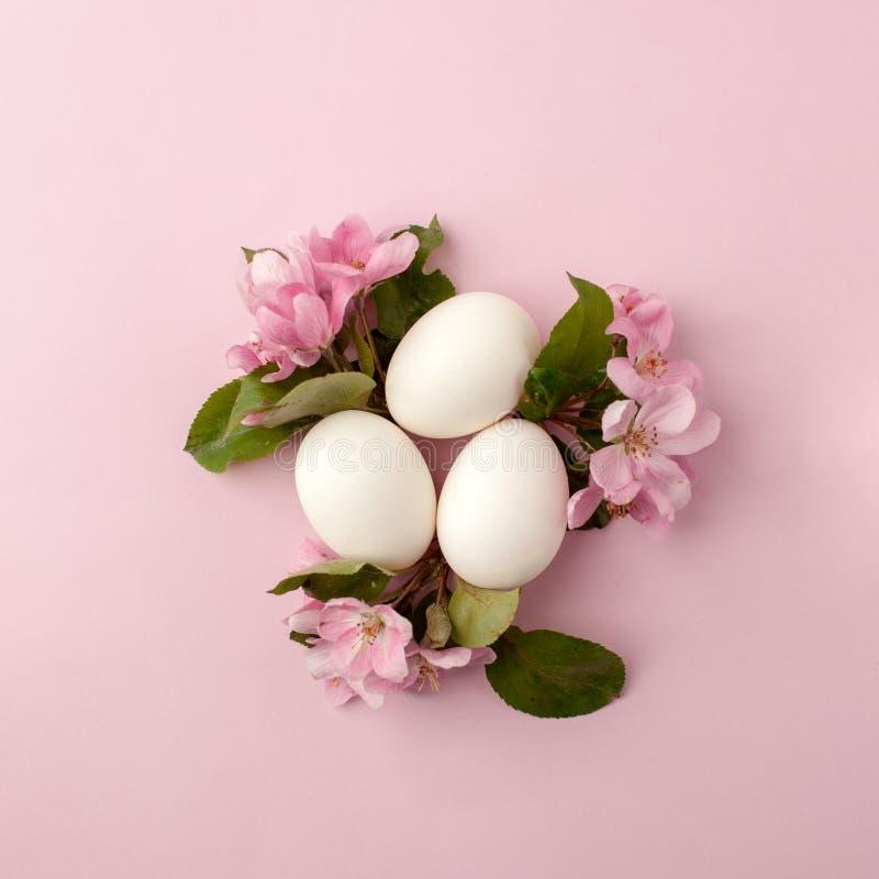 Paaseieren en roze bloemen op witte achtergrond Pasen-de nestvlakte legt, hoogste mening, concept de lente, vrouwelijkheid en sch royalty-vrije stock foto's