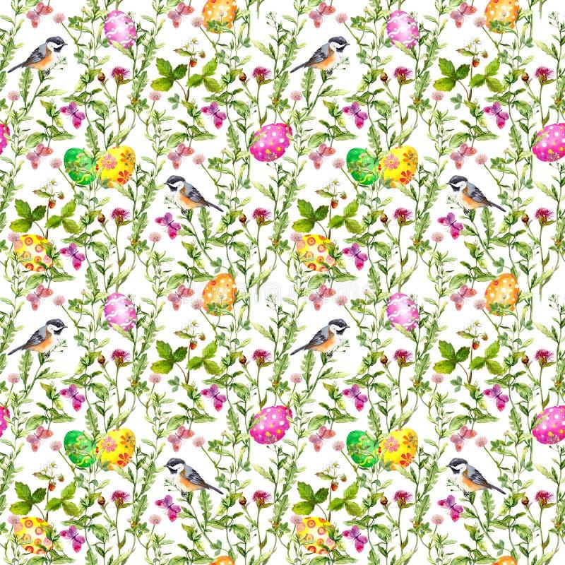 Paaseieren in Gras Naadloos patroon - leuke vogel, bloemen, vlinders watercolor stock afbeelding