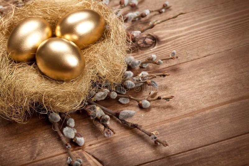 Paaseieren in het nest royalty-vrije stock foto's