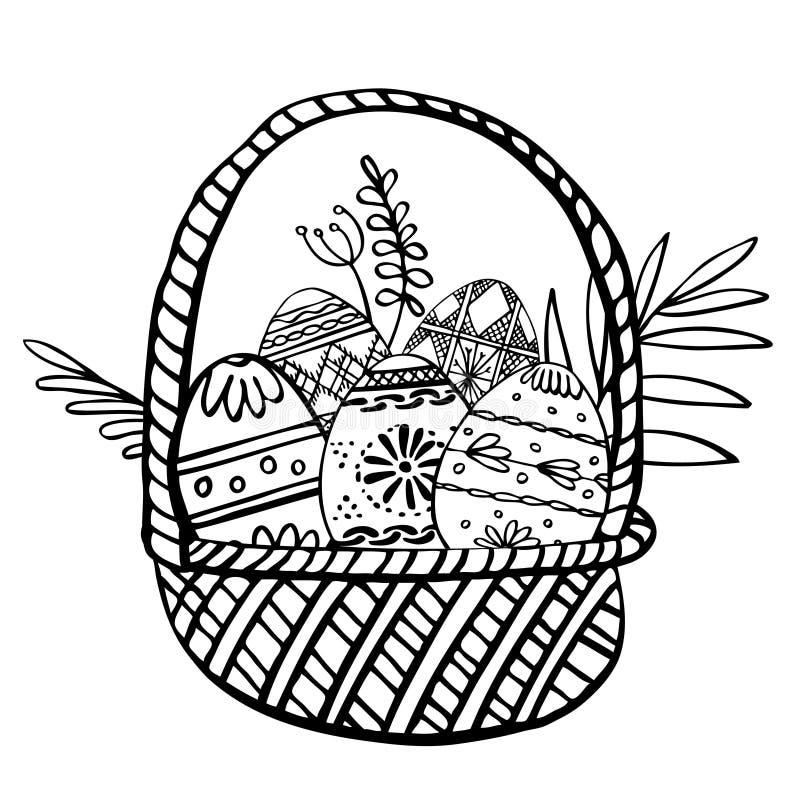 Paaseieren met bloemen in een mand Hand getrokken de inkt vectorillustratie van het schetsoverzicht stock illustratie