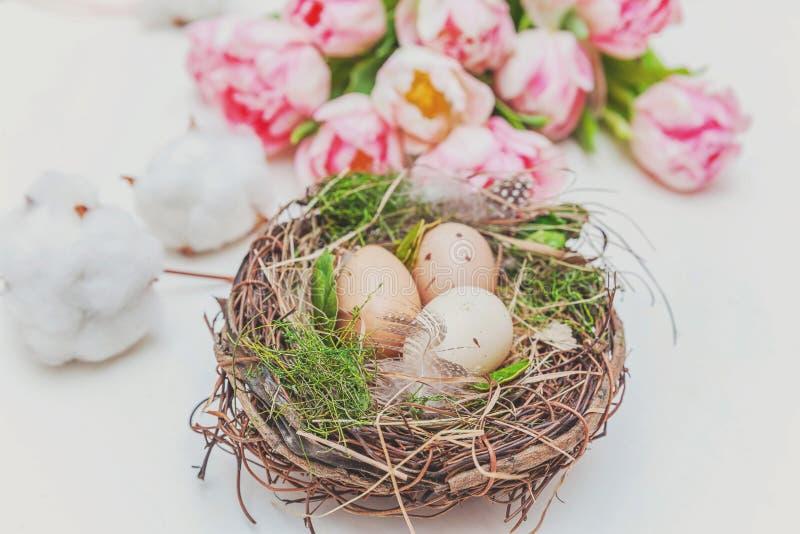 Paaseieren in nest met moskatoen en roze vers tulpenboeket op rustieke witte houten paaseieren als achtergrond in nest met mos royalty-vrije stock afbeelding
