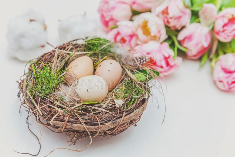 Paaseieren in nest met moskatoen en roze vers tulpenboeket op rustieke witte houten paaseieren als achtergrond in nest met mos royalty-vrije stock fotografie