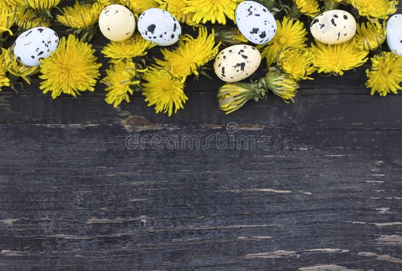 Paaseieren op oude donkere houten achtergrond stock afbeeldingen
