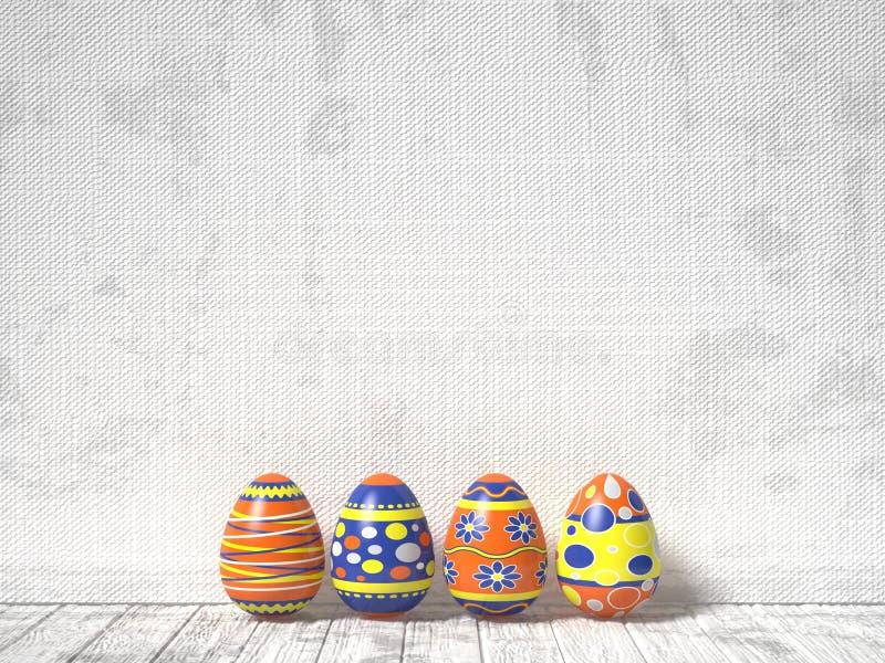 Paaseieren op witte houten achtergrond worden geschilderd die Het Concept van Pasen 3d stock illustratie